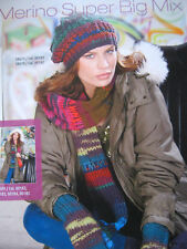 SMC Merino Super Big Mix Knitting Pattern for Scarf Cap and Mittens - S8611