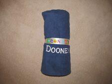 "Nwot Dooney & Bourke Beach Towel Bath Sheet 34"" x 68"" Navy Blue Embroidered Logo"