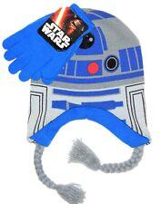 STAR WARS R2-D2 R2D2 Knit Peruvian Winter Beanie Hat & Gloves Set w /Braids $25