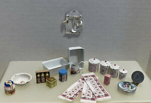 Shabby Chic Pink Kitchen Items Some Artisan Enamelware Dollhouse Miniature 1:12