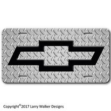 Chevy Bowtie Simulated Diamond Plate Black Bow Tie Aluminum License Plate Tag