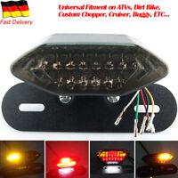 Neu 20 LED Motorrad Rücklicht Bremslicht schwarz mit Kennzeichenhalter Schwarz