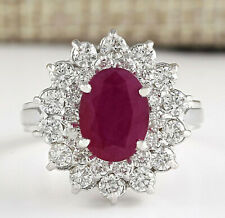 3.11 Carat Natural Ruby 14K White Gold Diamond Ring
