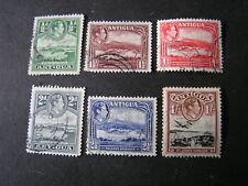 ANTIGUA, SCOTT # 84-88(5)+91, TOTAL 6 1938-51 KGV1 PICTORIAL ISSUE USED