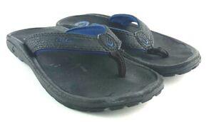 Olukai Boys Ohana Flip Flop Sandals Sz  US 13 Youth Black Blue