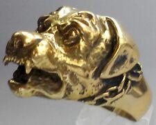 Bronze Rottweiler Biker Ring Custom Size Animal Handmade Dog Collectible R-172b