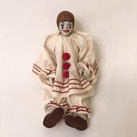 "Creepy 16"" Enesco Vintage 1983 Clown Porcelain Head/Hands/Feet. Cloth Body."