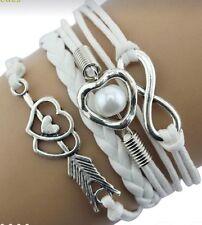 White Braided Silver Toned Charm Bracelet Infinity Heart Faux Pearl Arrow