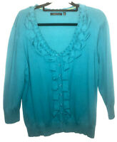 Marco Polo Teal long sleeve Knit button up Cardigan with ruffle detail Size XL