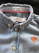 Tartine et Chocolat Blue Button Down Tab Sleeve Shirt - 6 Months