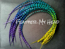 10 Wholesale Multi Colored Feather Extension Tie Dye Fade CHEAP ALL GRIZZLY