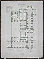 Gravure d'Architecture Plan du rez de chaussée d'une partie du Palais du Louvre