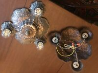 Pair Available-Art Nouveau, Art Deco 1920s Antique Ceiling Fixture Chandelier