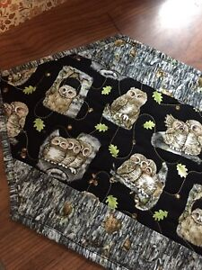 Handcrafted-Quilted Table Runner -Halloween - Owls, Owls, Owls - Grays, Black