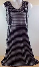 NWT Marc New York Andrew Marc Black White Striped Hooded Hoody Dress Sporty SML
