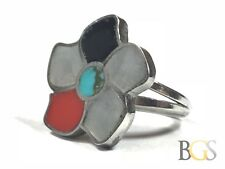 Vintage Ladies Sterling Silver MOP/Turquoise/Oynx/Coral Ring - Size 4 - Wow!
