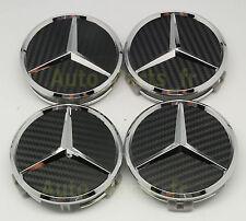 4  Cache Jantes moyeux Centre de roue - Mercedes Benz 75mm - Effet Fibre Carbone