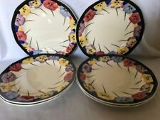 "**RARE** 6 x Royal Doulton 'Pansy' 7"" Side Plates (D4049)"