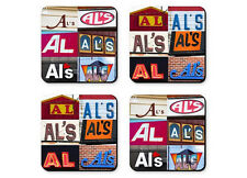 Personalized Coasters featuring the name AL in photos of signs - Set of 4