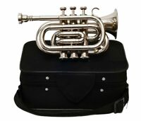 Pocket Trumpet 3V Pro Nickle Plated with Mouth Piece And Case