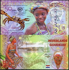 NETHERLANDS GUINEA (GHANA) 50 GULDEN 2016 POLYMER FANTASY ART NOTE - CRAB, GIRL!