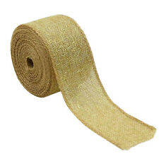 5m Burlap Ribbon with Gold Net Mesh Embellishments for Christmas Craft 50mm