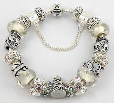 Authentic PANDORA Bracelet with HAPPY BIRTHDAY European Charms & Murano Beads