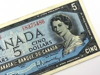 1954 Canada 5 Dollar Five Dollar CX Circulated Beattie Rasminsky Banknote S970