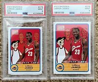 2003-04 (2) Topps Bazooka Mini & Original Lebron James PSA 9 rookie #276