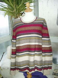 Escada beige multi stripe wool sweater Large NEW with tags RRP £255