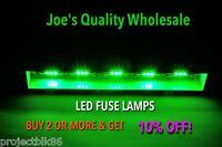 FOUR(4)EMERALD GREEN 8V-29MM LED FUSE LAMP-RECEIVERS/SANSUI/QRX-BA-CA-QR/DIAL