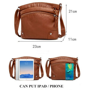 Light Women Leather Ipad Phone Portable Shoulder Bag Cards Pocket Crossbody Bag