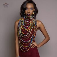 Women's African Ankara Necklace Wax Print Fabric Shawl Handmade Tribal Jewelry