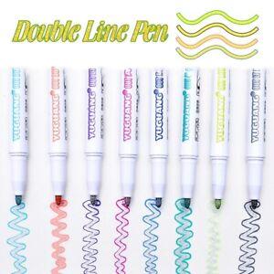 Drawing Double Line Outline Pen Highlighter Marker 8 Color Pens For School