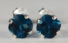 PRETTY! GENUINE MINED CUSHION LONDON BLUE TOPAZ EARRINGS~STERLING SILVER~6MM