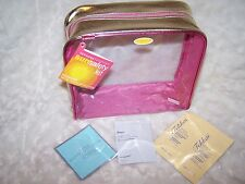 SEPHORA Sun Safety Makeup Case Pouch Bag Clear w Pink & Gold Trim + FREE Sample