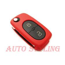ROSSO Cover Chiave per VW 2 Bottoni Caso Fob remoto PROTECTOR BAG AUTO OVALE ROUND 42R
