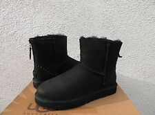 UGG CLASSIC MINI ZIP ROCK STUDS BLACK LEATHER/ SHEEPSKIN BOOTS, US 9/ EU 40 ~NIB