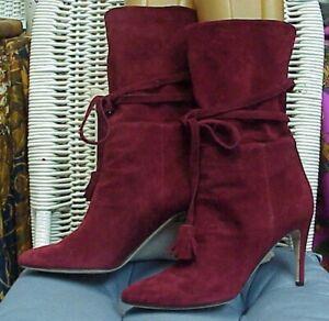 MANOLO BLAHNIK designer burgandy suede boots/heels, sz. 38 IT; 7 1/2-8 US