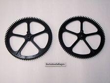 """2 KNEX BIG BLACK GEARS Large 5"""" Crown Gear Bulk Ferris Wheel Parts/Pieces Lot"""