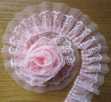 5 yd Vintage Pink Pleated Organza Lace Edge Trim Gathered Wedding Ribbon Sewing