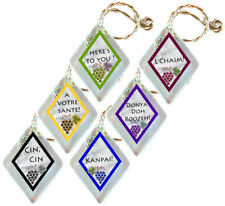 Recycled Frosted Window Glass Wine Charms Set of 6 Cin Cin, A Votre Sante