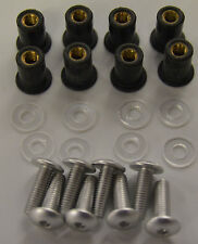 TRIK MOTO SILVER ANODISED SCREEN BOLT KIT SCREEN BOLTS SCREWS 8 PACK WELL NUTS