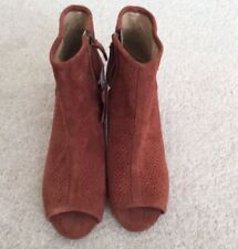 Ladies M&S RUST SUEDE ANKLE BOOTS, PEEP TOE ,ZIPS , SIZE 3.5 RRP £55