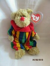 """TY Attic Treasures """"piccadilly"""" Bear Removable Stripe Velour Clown Rompers 1993"""