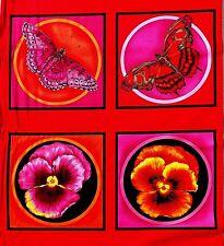 Schmetterling und Stiefmütterchen Panel Stoff 60x112 cm FF 552-7 100% Baumwolle