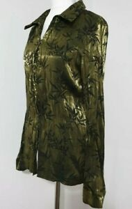 Ladies SHIMMERY Blouse/Shirt Green/Black Textured Pattern UK-18 Bonmarché Ex Con