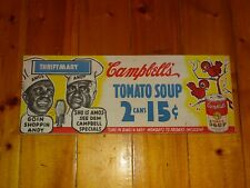 Vintage original Campbells' tomato soup cardboard sign Amos and Andy Thriftmart
