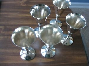 5pc Set J Perez Ruiz Silver Plate Wine Goblet Wedding Toasting Vintage Spain