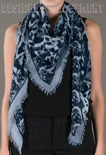 "ALEXANDER MCQUEEN aqua ANIMALIER SKULL 52""-Square cashmere scarf NWT Authen $725"